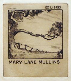 Bookplate for Mary Lane Mullins  1928 by Adrian Feint