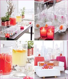 A modern affair .. . love the colors and details = ice cubes infused with coral and pink flowers...