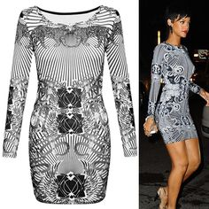 * GET THE CELEBRITY RIHANNA LOOK WITH THIS STUNNING DRESS * 95% POLYESTER, 5% ELASTANE * FEATURES ANIMAL TRIBAL AZTEC PRINT ALL AROUND WITH FULL SLEEVES AND CREW NECKLINE  £29.99