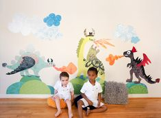 Dragon and Dinosaur Wall Stickers for Kids Room - Pop and Lolli
