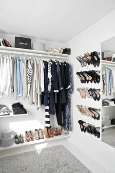 dressing room, open wardrobe, wall shoe storage Source by khimsabine Wardrobe Room, Walk In Wardrobe, Wardrobe Closet, Wardrobe Design, Closet Bedroom, Walk In Closet, Wardrobe Ideas, Diy Built In Wardrobes, Fitted Wardrobes