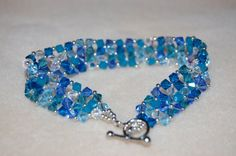 Glacier Blue Swarovski Crystal Bracelet by cbdjewelry on Etsy, $45.00