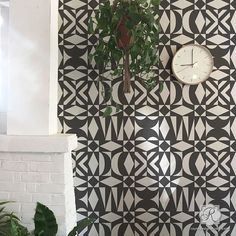 Modern Tribal Wall Pattern - Large Wall Stencil for Painting Interiors – Royal Design Studio Stencils Large Wall Stencil, Stencil Painting On Walls, Large Stencils, Trendy Home Decor, Diy Home Decor, Living Room Decor, Bedroom Decor, Bedroom Wall, Living Walls