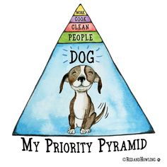 """""""My Priority Pyramid"""" archival giclee print - Cats and Dogs House I Love Dogs, Puppy Love, Cane Corso Italiano, Crazy Dog Lady, Dog Rules, Animal Quotes, Dog Friends, Dog Mom, Dog Life"""