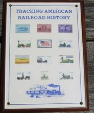 U.S. Postage Stamps Railroad Train Plaque American History Tracking
