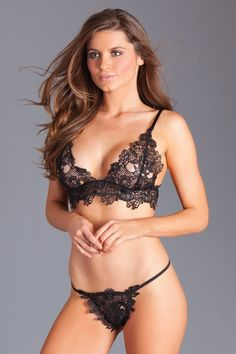 1aa8920888f9 Sexy Be Wicked Black Floral Guipure Lace Bra and G-String Lingerie Set Bra  Lingerie