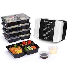 [Paquets de 20] Symbom 1000ml Bento Box / Lunch box/ Meal Prep Food Container – Réutilisable Plastique Boîtes alimentaires empilables à 3…