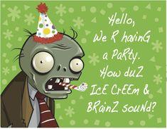 Plants V Zombies Invitation
