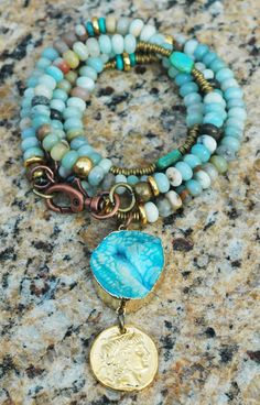 Peru: Peruvian Blue Opal, Turquoise, Gold Coin and Agate Slab Pendant Necklace $175