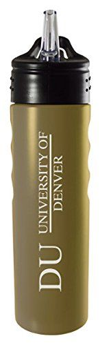 University of Denver-24oz. Stainless Steel Grip Water Bottle with Straw-Gold - http://waterbottlesluv.com/?product=university-of-denver-24oz-stainless-steel-grip-water-bottle-with-straw-gold