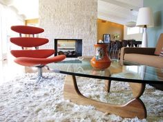 My Houzz: Mid century simplicity with great color and pieces-nothing like the lines of a Noguchi table