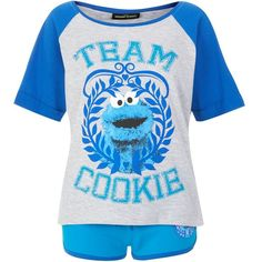 Teens Blue Cookie Monster Pyjama Top found on Polyvore featuring women's fashion, intimates, sleepwear, pajamas, pyjamas, pj tops, blue pajamas, pyjama tops and pajama tops