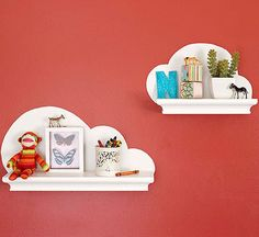 DIY Nursery Decor: like the shelf with the decal