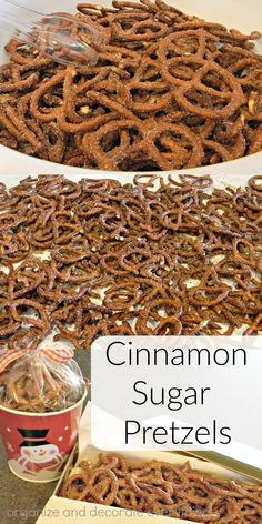 cinnamon-and-sugar-pretzels-are-great-for-parties-or-gift-giving Organize and Decorate Everything Make these Cinnamon Sugar pretzels for snacking, party time, and gift giving this Christmas. Christmas Snacks, Christmas Cooking, Christmas Pretzels, Christmas Appetizers, Christmas Christmas, Christmas Decorations, Snack Mix Recipes, Appetizer Recipes, Snack Mixes
