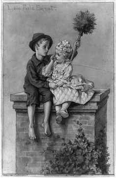 chimney sweep and a young girl up on a chimney Chimney Sweep, Vintage Images, Victorian, Google Search, Postcards, Illustration, Prints, Painting, Cards