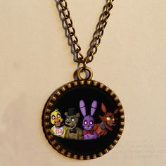 Five Nights at Freddy's http://www.aliexpress.com/store/product/08-Wholesale-4-Lot-5-Five-Nights-at-Freddy-s-Necklace-FREDDY-FAZBEAR-Scrabble-Tile-Antique/811473_32266661775.html