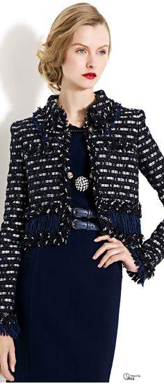 Oscar de la Renta ● Blue Crop Tweed Jacket