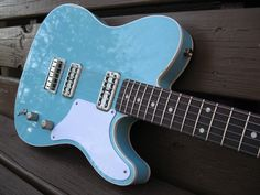Daphne Blue Cabronita project - rosewood neck, filtertrons pickup and white binding.  From TDPRI thread http://www.tdpri.com/forum/telecaster-discussion-forum/211848-show-us-your-la-cabronita-clones.html ~Matt