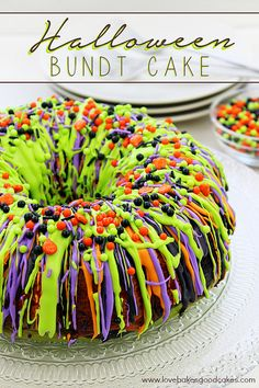 """Oooh"" and ""aah"" your guests with this impressive Halloween Bundt Cake! It is so colorful and it's easy to make."