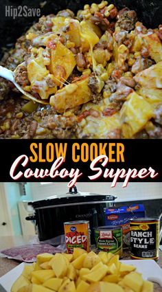 Slow Cooker Cowboy Supper (Easy Weeknight Meal idea) - Need an easy Crock-Pot dinner idea? Try making this delicious Cowboy Supper for an easy weeknight m - Crockpot Dishes, Crock Pot Slow Cooker, Crock Pot Cooking, Crockpot Meals Easy, Ground Beef Crockpot Recipes, Ground Beef Slow Cooker, Slow Cooker Hamburger Recipes, Dinner Crockpot, Crock Pot Recipe With Ground Beef
