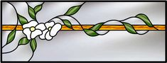 Transom Stained Glass Window With Traditional Leaded Vines and Flower Design