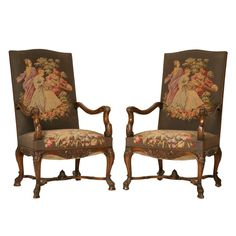 Magnificent Pair of Antique French Rococo Throne Chairs | From a unique collection of antique and modern armchairs at https://www.1stdibs.com/furniture/seating/armchairs/