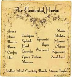Elements Air:  #Air Elemental Herbs.