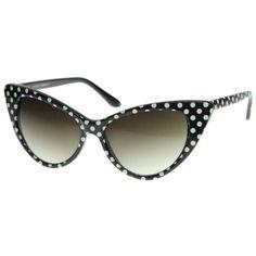 38f81c07049 Polka Dot Cat Eye Womens Mod Fashion Super Cat Sunglasses (Black White-Dots)
