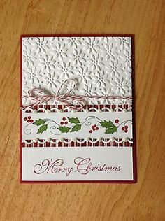 Handmade Christmas card kit - red&green garland-md w/ mostly stampin up product Homemade Christmas Cards, Christmas Cards To Make, Xmas Cards, Homemade Cards, Holiday Cards, Handmade Christmas, Merry Christmas, Christmas Border, Simple Christmas