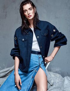 """Denim Couture"" Marizanne Visser by Koray Parlak for ELLE Turkey May 2015 #cartonmagazine"