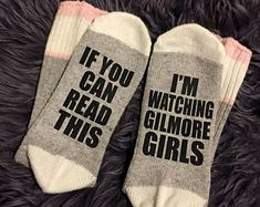 Gilmore Girls Socks, I'm watching gilmore girls, Wine socks, Custom socks, If you can read this socks, funny socks, women's socks, bring me