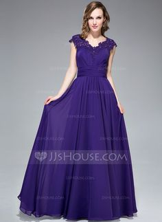 A-Line/Princess V-neck Floor-Length Chiffon Evening Dress With Ruffle Beading Appliques Lace Sequins (017053558) - JJsHouse