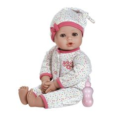 """Amazon.com: Adora PlayTime Baby Dot Vinyl 13"""" Girl Weighted Washable Play Doll Gift Set with Open/Close Eyes for Children 1+ Includes Bottle Cuddly Snuggle Soft Toy: Toys & Games"""