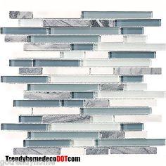 1-SF-Blue-White-Marble-Glass-Mosaic-Tile-Backsplash-Kitchen-wall-bathroom-shower