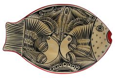 Love the pattern in a pattern - Hand-Painted Fish Plaque