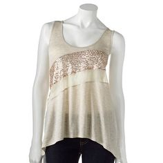 Rewind Sequin and Lace Racerback Tank Kohl's online sale $16.99