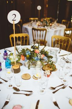 Table Number Centrepiece Decor Flowers Log Slice Powder Blue Country Rustic Charm Wedding https://photography34.co.uk/