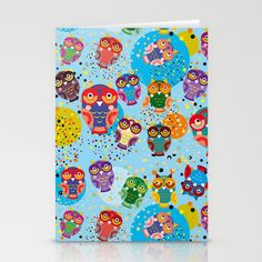 colorful owls on a blue background Stationery Cards