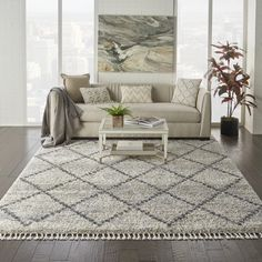 This Nourison Scandinavian Shag Lattice Area Rug features warm neutral tones that create a subtle mottled background for the lattice grid of this tribal rug. This rug is at home in any decor, with easy-care fibers and plush, welcoming shag texture. Beige And Grey Living Room, Brown Couch Living Room, Rugs In Living Room, Charcoal Couch, Beige Couch, Room Rugs, Area Rugs, Nourison Rugs, Beige Carpet