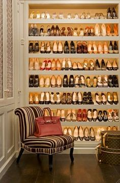 Closet full of shoes, fabulous Louis Vuitton luggage, and a beautiful house design home design room design design Dream Closets, Master Closet, Master Bedroom, Bedroom Decor, Extra Bedroom, Master Bath, Home And Deco, Home Living, Living Room