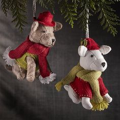 Winter Pup with Sweater Ornaments | Crate and Barrel