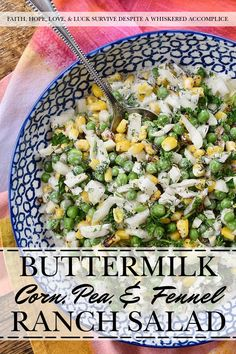 Buttermilk Corn, Pea, & Fennel Ranch Salad - Fresh vegetables aren't always available when it comes to making a creamy, well-seasoned, crunchy vegetable side dish. So, with this buttermilk ranch salad, frozen vegetables come to the rescue. Perfectly cooked frozen corn and peas are mixed with a homemade herby buttermilk dressing. Then, a chopped bulb of fennel is added to create just the right amount of crunch and flavor to make this salad one of the most delicious frozen vegetable side dishes yo Delicious Dinner Recipes, Great Recipes, Vegan Recipes, Buttermilk Dressing, Buttermilk Ranch, Roasted Corn Salad, Frozen Vegetables, Veggies, Corn Salad Recipes