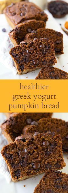 The BEST healthier Greek yogurt pumpkin bread with lots of healthy swaps!: The BEST healthier Greek yogurt pumpkin bread with lots of healthy swaps! Healthy Baking, Healthy Desserts, Delicious Desserts, Dessert Recipes, Yummy Food, Fruit Recipes, Potluck Desserts, Yogurt Recipes, Fall Baking