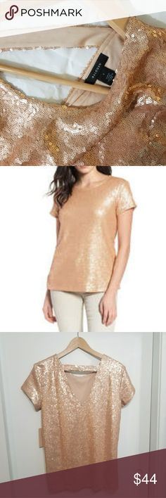 V-Back Sequin Top rose gold 💕New with tags Nordstrom purchase rose gold v back rose gold sequin short sleeve top.   Glistening sparkle emboldens this drapey tee fashioned with a flattering V-back for a little skin-showing appeal  Wear with white shorts for a night out, or just about anything.   Slips on over head - Scooped neck - Short sleeves - Lined   Sorry my pictures don't do much justice and looks more flattering when worn😉  Size:S  💕Non smoking home Halogen Tops