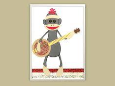Sock Monkey Kid's Art Print  Monkey & Banjo by LuminaGallery