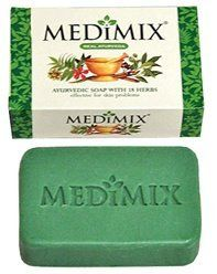 """Medimix """"Real"""" Ayurvedic Soap With 18 Herbs - 75 Gram (2.5 Oz) Bar - From India by Natural Soap. $2.96. Medimix is a traditionally hand made soap with a unique formulation of 18 herbs that acts gently but effectively on many kinds of skin problems."""