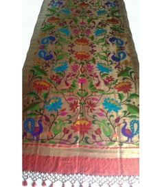 Red Handloom Paithani Pure Silk Dupatta