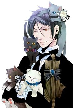 Black Butler/Kuroshitsuji Sebastian Michaelis with Neko Black Butler Anime, Black Butler Sebastian, Black Butler 3, Manga Anime, Film Anime, Anime Art, Manga Girl, Anime Girls, Anime Kuroshitsuji