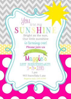 Sunshine  Birthday Party invitations printable or digital file
