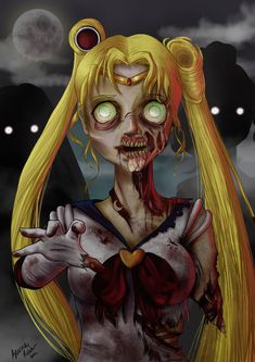 Sailor moon- she wouldn't be the first to go-------- probabaly like the last in a zombie apocalypse actually. Zombie Disney, Princesas Disney Zombie, Disney Horror, Evil Disney, Dark Disney, Disney Art, Arte Horror, Horror Art, Anime Angel